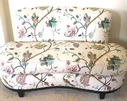 Silk sofa with knit backing and stain protection.